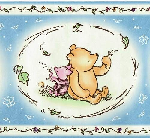 Details about CLASSIC WINNIE THE POOH Blue Wallpaper