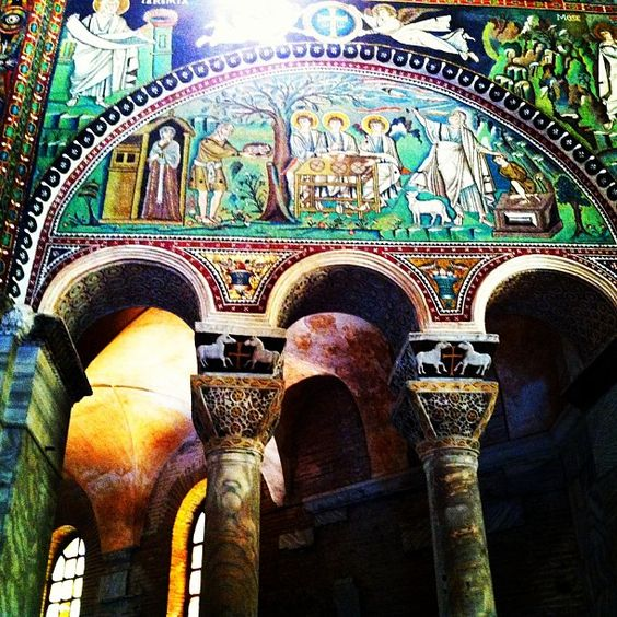 The stunning interior #mosaics and arches of San Vitale in my favorite Emilia-Romagna town of #Ravenna - thank you AGAIN #blogville - Instagram by @Gina SuuperG Stark