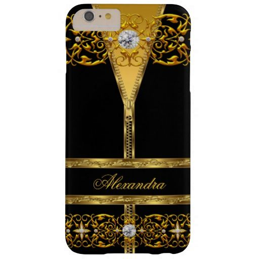 Elegant Black and Gold Zipper Diamond Barely There iPhone 6 Plus Case