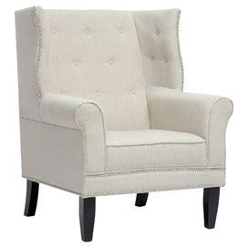 """Button-tufted wingback chair in beige with a birch wood frame and nailhead trim.  Product: ChairConstruction Material: Linen, foam and birch woodColor: Beige Features: Nailhead trim Dimensions: 42.5"""" H x 33"""" W x 34"""" D"""