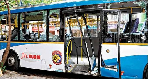 City #People #attacked the #AC Low Floor #Bus