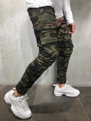Camouflage Jeans Cargo Pockets 4111 Camouflage Jeans Streetwear Jeans Hipster Mens Fashion