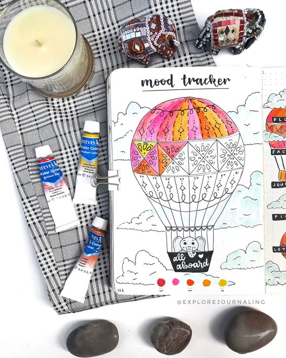 Hot ballon mood tracker for travelers 9 self-care bujo pages to add to your journal now - Ourmindfullife.com