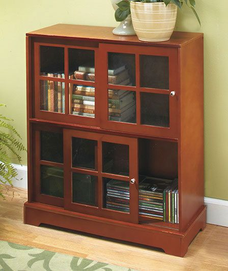 Sliding Door Media Cabinet Natural Wood Multipurpose