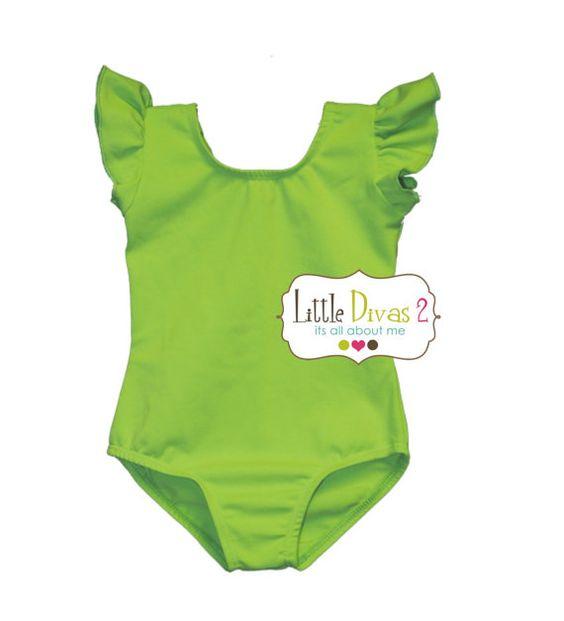 CHILD (Lime Green) FLUTTER/RUFFLE Sleeve Leotard - tinkerbell costume