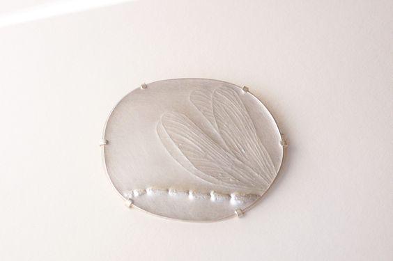 Gabriele Hinze Silber - engraved brooch: