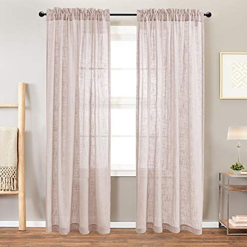 Linen Like Sheer Curtain Panels For Bedroom 95 Inches Long Rod
