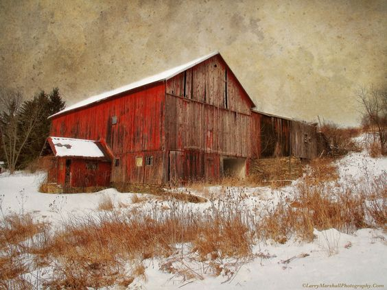 Red Barn White Snow - by Larry Marshall Photography
