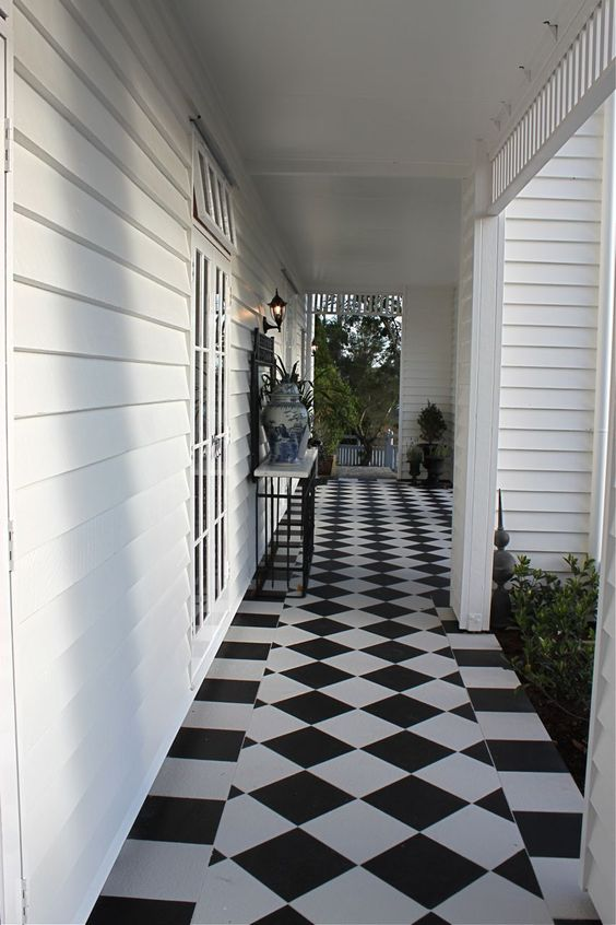 Crisp Black And White Complements Garden Greenery... Verandah House  Interiors