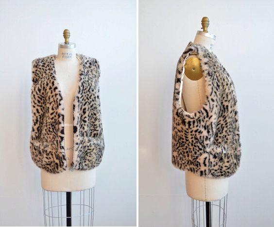 Vintage 1980s faux fur leopard vest - http://goo.gl/P53EIQ
