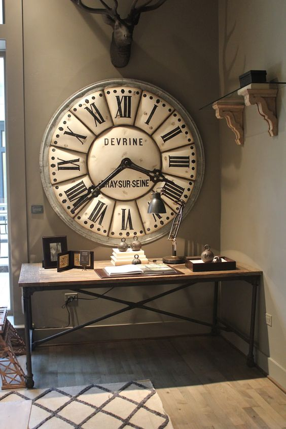 Horloge industriel and chic on pinterest for Horloge murale style industriel