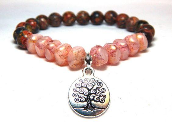 Yoga Bracelet, Tree of Life Bracelet, Pink Bracelet, Pink Jewelry, Gemstone Bracelet, Bead Bracelet, Pink Beaded Bracelet, Jasper Bracelet