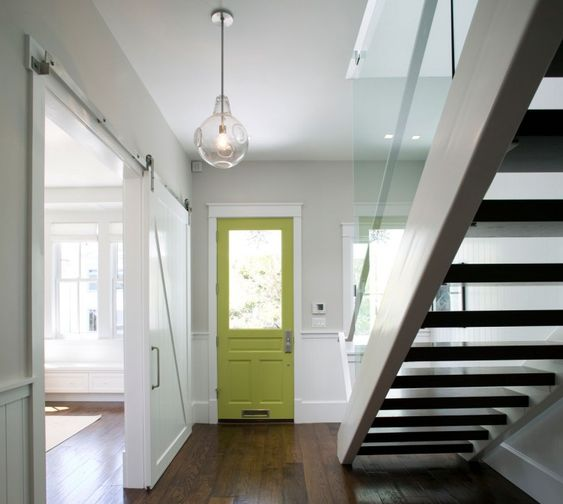 Love the colored interior front door