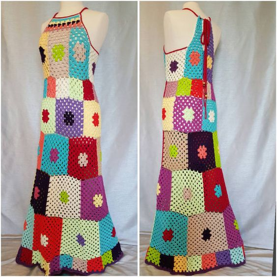 Womens Crochet Granny Square Maxi Hippie Vintage by OrawanCrochet