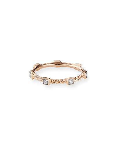 David Yurman Cable Collectibles Stacking Band Ring W Diamonds In 18k Rose Gold Size 5 Womens Jewelry Rings Rose Gold Stacking Bands