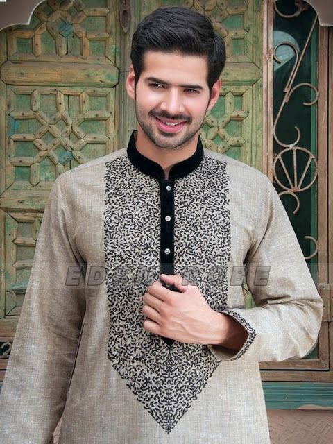 Grey embroidered kurta design for wedding