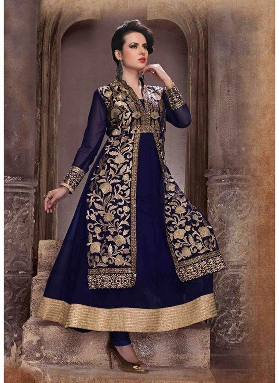 Anarkali de Concepteur Couleur Bleu Roi Indienne Style Veste Tunique en…