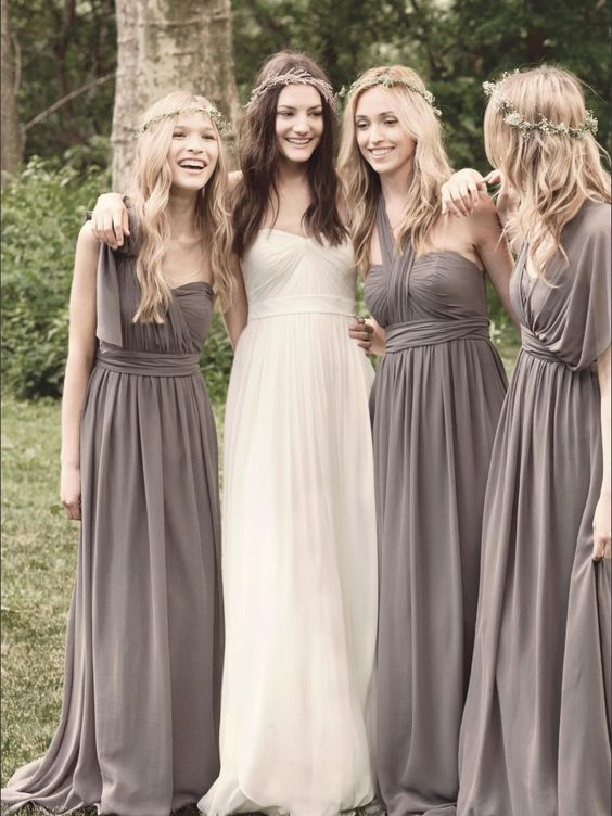 Kinda like the color of the dressss and different styles...and the wreaths brides maids wear them and bride wear flower head band prettty