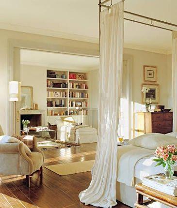 """Previous pinner: """"drapes on rod in Master""""  Me: built-in bookshelves!"""