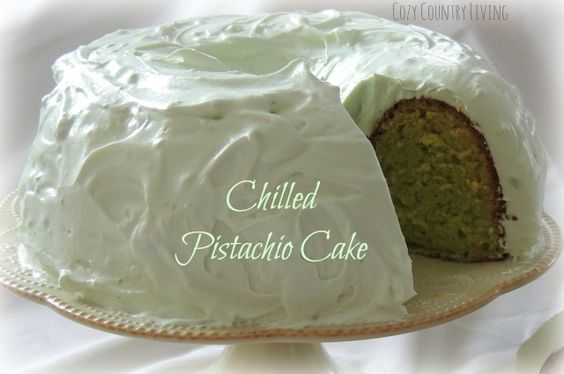 Chilled Pistachio Cake from Cozy Country Living #pistachio #cake