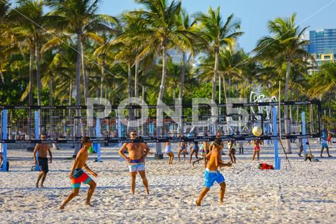 Miami Beach Volleyball Games On The Sand Stock Photos Ad Volleyball Beach Miami Games Beach Volleyball Game Beach Volleyball Miami Beach