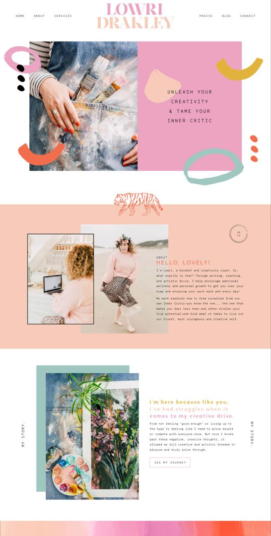 Bold Graphic Feminine Artsy Website Creative Website Design Feminine Website Design Web Layout Design