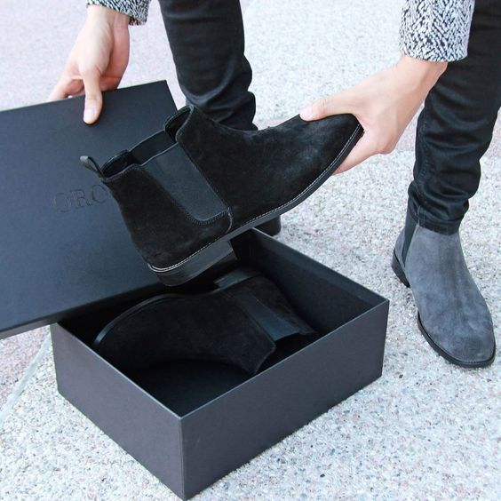 «@orolosangeles Gray/Black Suede Chelsea Boots is available at www.orolosangeles.com @orolosangeles»