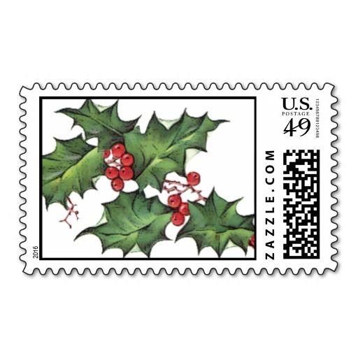 Pine Boughs Holly Berries Christmas Xmas Postage Christmas
