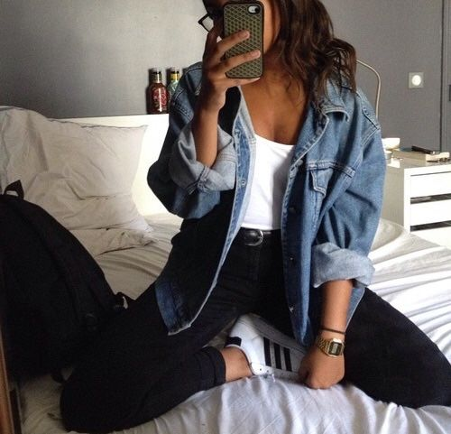Pinterest: @barbphythian || everyday look | oversized denim jacket, white shirt, black high waisted jeans, Adidas superstar in black and white.: