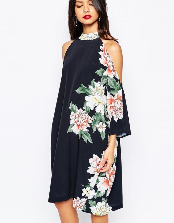 Image 3 ofLiquorish Cold Shoulder Dress in Floral Placement Print