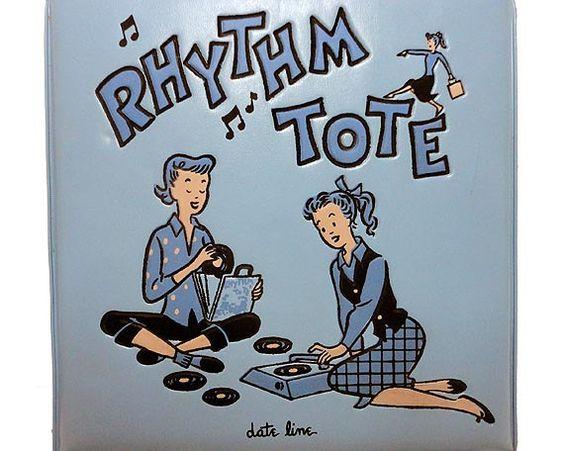 Vintage Record Case - Vintage Rhythm Tote - 45's Rockabilly Sock Hop Record Holder Date Line