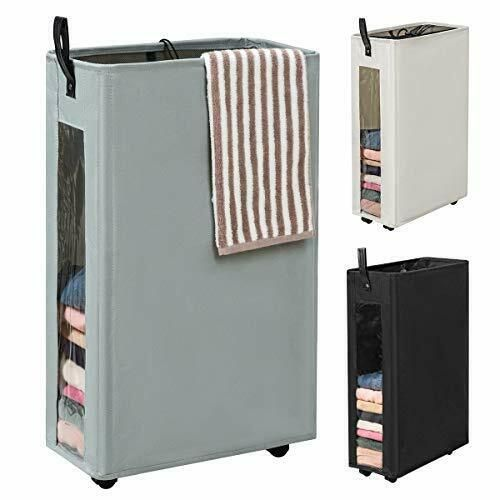 Canvas Tall Round Truck Laundry Basket On Wheels Laundry Room