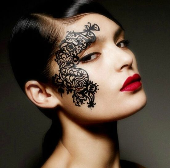Tattoo Woman Face Mask: Sexy Face Lace Eye Shadow Sticker Makeup Artistic Eye Face