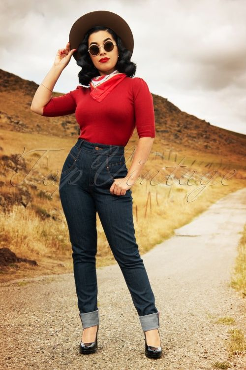 50s Ruth Skinny Jeans In Classy Blue In 2020 Mode Uber 50 Mode Und Hosen Damen