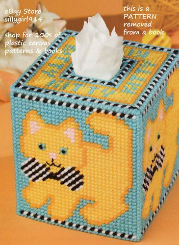 Images Halloween Cats Tissue Box Cover Plastic Canvas