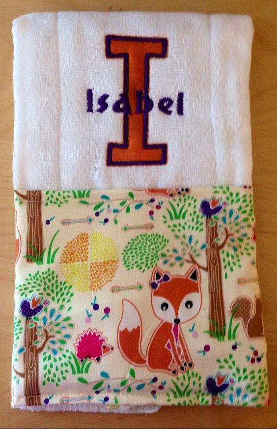 Woodland burp cloth Fox burp cloth Baby by BrinleysBowtique32