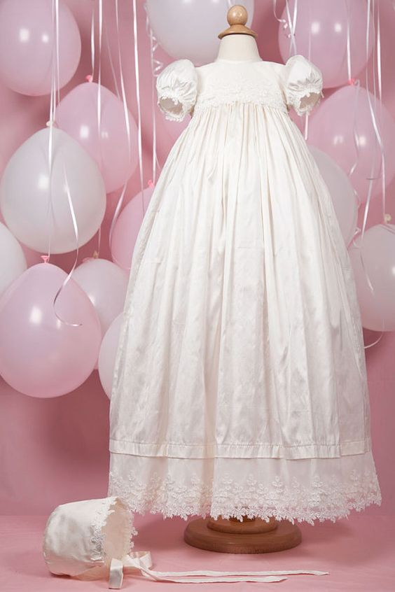 Handmade 'Alexandra' Silk Dupion Christening Gown and Bonnet with embroidered netting bodice and hemline scattered with tiny seed pearls.