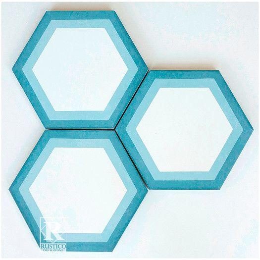"Rustico Tile & Stone Hexagon Geometric Encaustic 8"" x 8"" Concrete Mosaic Tile in Blue/White"