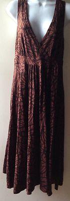 Michael Kors Brown Floral Print Dress Size M Sz Medium  #michaelkors