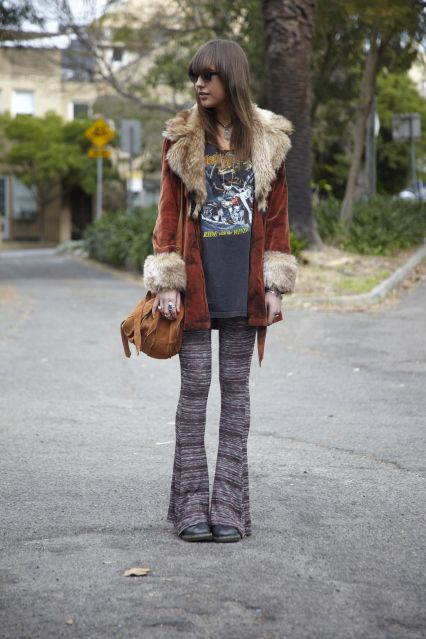 orig hippie style: muted tones, band tees & flared bottoms