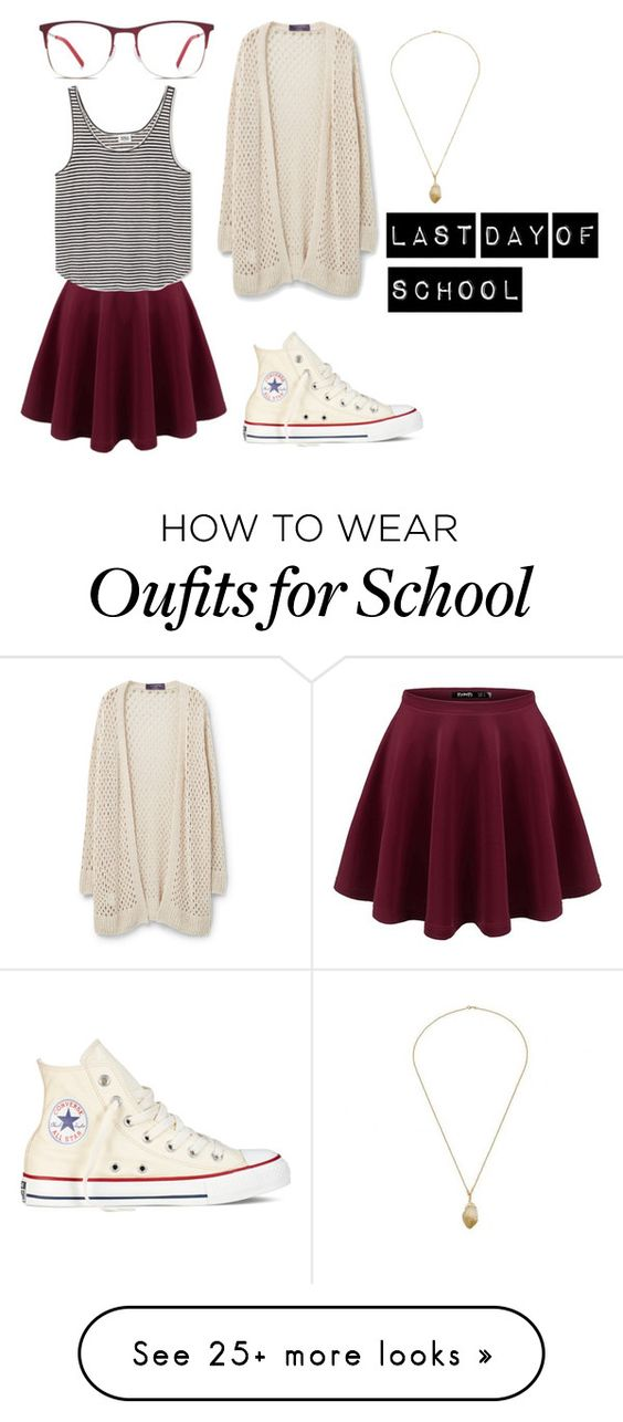 """""""Last Day Of School"""" by go-with-the-flow-12 on Polyvore featuring Violeta by Mango and Converse"""