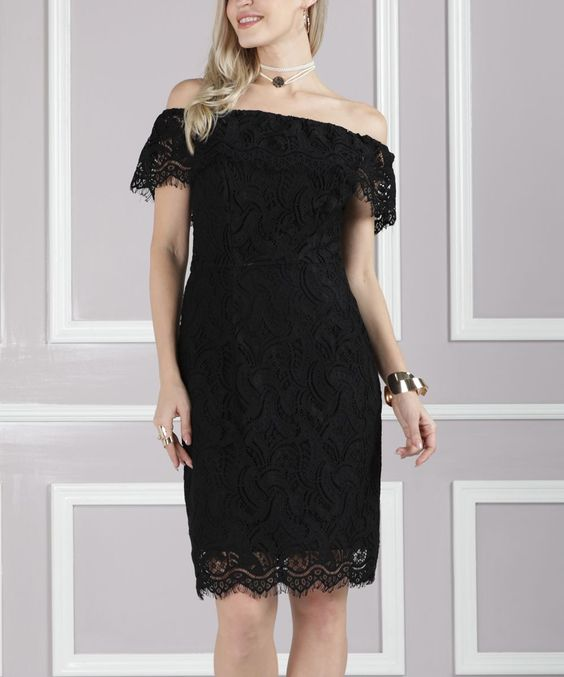 Black Lace Off-Shoulder Dress - Plus Too