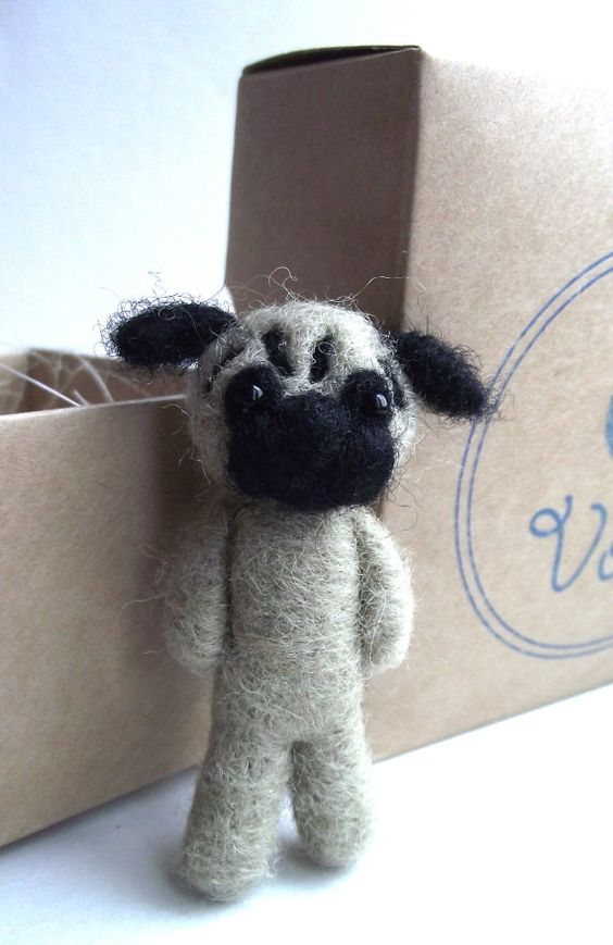 Needle felted pug puppy felted brooch miniature toy by VoDi