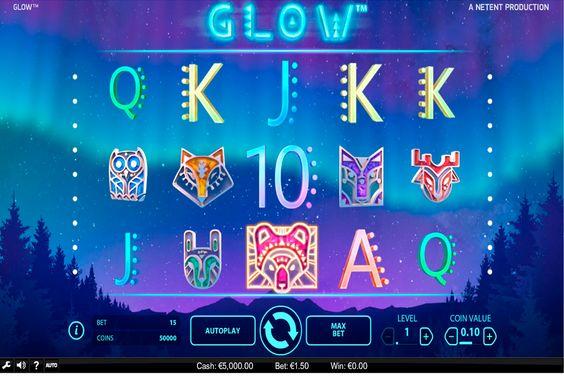 """Der leuchtende Spielautomat von NetEnt schon gesehen? Fange die die Möglichkeit der """"Glow"""" Spielautomat von NetEnt zu probieren! Angenehme Leuchten und tolle Musik werden dir nur Spass bringen! Spiele kostenloses""""Glow"""" NetEnt Slot ohne Anmeldung!"""