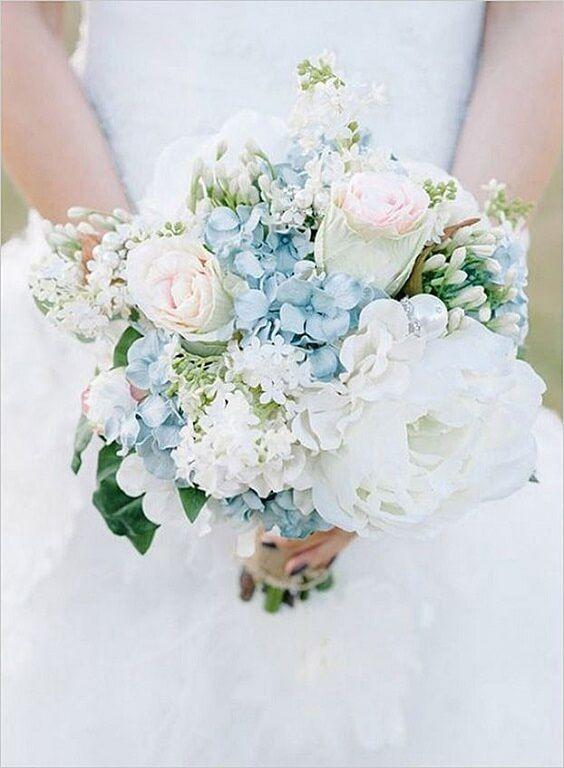 Sparkling Ice Blue Aqua And Silver Winter Wedding Ideas White Wedding Bouquets Blue Wedding Flowers Wedding Bouquets