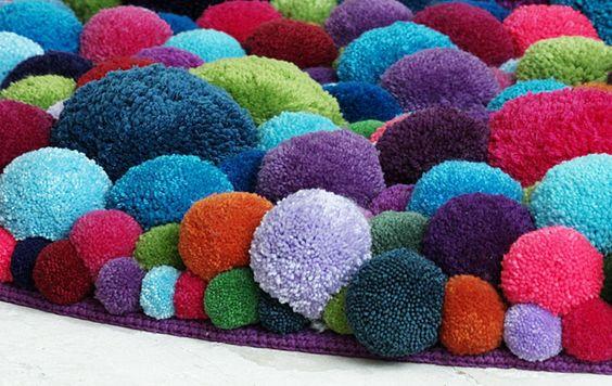 Bommel alfombra pompones color