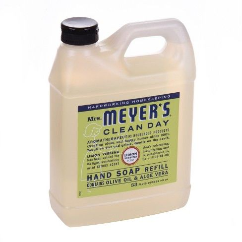 Mrs Meyer S Lemon Verbena Liquid Hand Soap Refill 33 Fl Oz Liquid Hand Soap Cleaning Day Soap