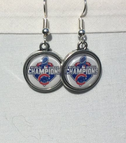 Chicago Cubs Championship Earrings by Fittobetiedparacord on Etsy