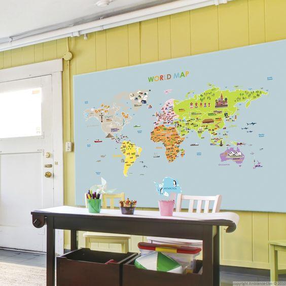 Stickers pour les bébés - Sticker carte du monde géante pour enfants | Ambiance-sticker.com