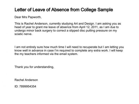 letter writing for leave application in college